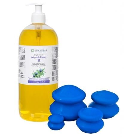 ZESTAW - Olej do masażu antycellulitowy 1000ml, bańki gumowe 4 szt do masażu antycellulitowego