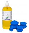 Zestaw: Olej do masażu antycellulitowy 1000ml + bańki gumowe 4 szt do masażu antycellulitowego