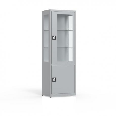 Szafa 2-drzwiowa, przeszklone drzwi i boki, pełne drzwi MDBW/1