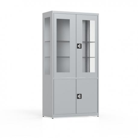 Szafa 4-drzwiowa, przeszklone drzwi i boki, pełne drzwi MDBW/2